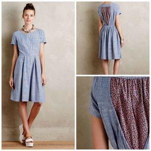 Anthropologie Hidden Blooms Linen/Cotton Dress